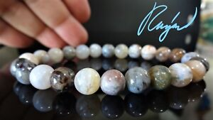 """Natural Bamboo Agate Bead Bracelet for Men or Women Stretch 8mm - 8"""", 7.5"""""""