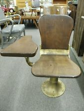 Vintage Antique Student Chair with Drop Down Arm Cast Iron & Wood Industrial
