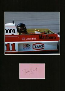 JAMES HUNT MOTOR RACING AUTHENTIC SIGNED AUTOGRAPH MOUNTED DISPLAY UACC *2