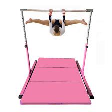 5' Athletic Horizontal Gymnastics Bar Monkey bars Pink + 4' x 6' Gymnastic Mat.
