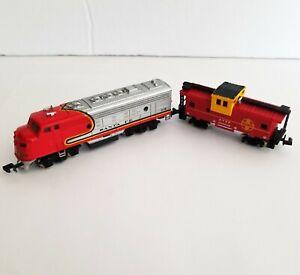 N Scale Bachmann F9 Diesel Locomotive Santa Fe #215 Engine & ATSF Caboose