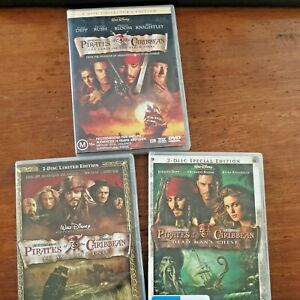 Pirates of the Caribbean 1, 2 and 3 Collection 6 DVDs R4 VERY GOOD FREE POST
