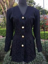 Vintage Sz 8 HOWARD WOLF Silk Military Inspired Couture BLAZER Jacket Designer
