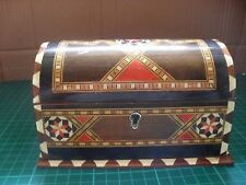 Hand crafted middle eastern mosaic inlaid trinket jewellery box chest