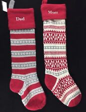 2 POTTERY BARN KIDS FAIR ISLE RED GRAY SNOWFLAKE CHRISTMAS STOCKINGS DAD MOM NEW