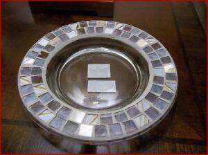 NIB YANKEE CANDLE Harmony Mosaic Glass Tray For Pillar Candle Medium/Large Jars