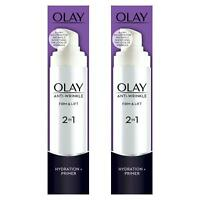 2 x Olay Anti-Wrinkle Firm & Lift 2-In-1 Moisturiser And Anti-Ageing Primer 50ml