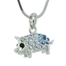 "Made With Swarovski Crystal PIG PIGLET Piggy Blue Luck Symbol Pendant 18"" Chain"