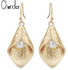 GOLD PLATED CALLA LILY FLOWER PEARL DANGLE EARRINGS