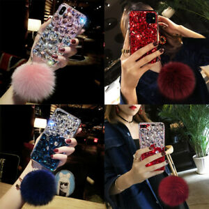 For Samsung Note20 10 9 S20 S10 S9 Luxury Bling Full Diamond Case w/ Plush Ball