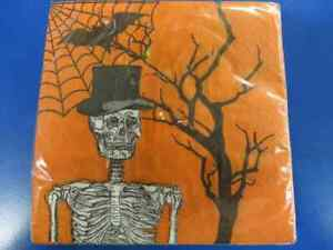 Spooky Scenes Skeleton Bat Spider Orange Halloween Party Paper Beverage Napkins