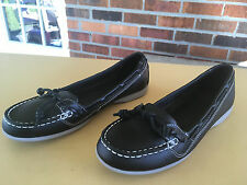 SEBAGO FELUCCA LACE BLACK LEATHER LOAFERS SHOES SIZE 6.5 M