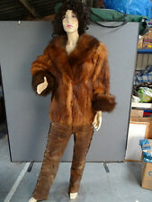 BEAUTIFUL REAL RED FOX FUR JACKET COAT WITH HUGE LUXURIOUS COLLAR AND CUFFS