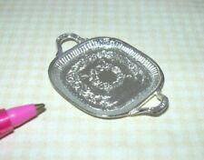 Miniature Elegant Square Silver(tone) Tray (#7): DOLLHOUSE Miniatures 1:12