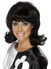 60s Black Mod Flick Wig Ladies Cilla Fancy Dress Costume Accessory