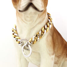 19mm Silver/Gold Stainless Steel Flat Link Curb Bulldog Big Dog Chain Collar