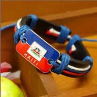 Tourist souvenirs Flag pattern Haiti Woven leather bracelet The Republic of Hait
