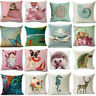 Pig Cute Cartoon Animals Cotton Linen Pillowcase Sofa Cushion Cover Home Decor