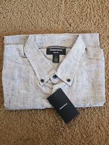 Nordstrom Dress Shirt - short sleeves Dark Navy and Grey Gray NEW, never worn