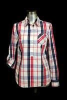 womens blue pink plaid TOMMY HILFIGER roll tab popover shirt top blouse modern S
