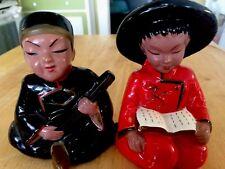VINTAGE MID CENTURY CHINESE BOY LUTE GIRL BOOK CERAMIC FIGURINES JAPAN