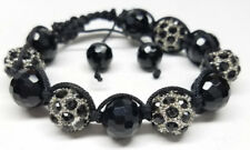 BEAUTIFUL SHAMBALLA BALL BEAD BRAIDED BLACK ROPE BRACELET Crystal Rhinestone NEW