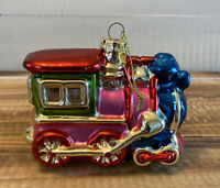 "Blown Glass Train Locomotive Christmas Tree Ornament 4.5"" Long"