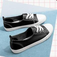 Casual Pumps Canvas Sneakers Shoes Womens Girls Flat Lace Up Loafers Plimsolls