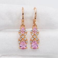 18K Yellow Gold Filled Pink Mystic Topaz Teardrop  Dangle Earrings Jewelry