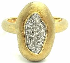 Sterling Silver 925 Two Tone Abstract Diamond Matte Brushed Pebble Cocktail Ring