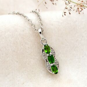 Natural Chrome Diopside Fancy Pendant Sterling Silver Necklace Handmade Jewelry