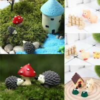 3Pcs Fairy Garden Animal Figurines Miniatures Mushroom DIY Craft Accessories Set
