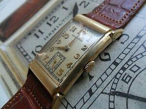 Solid 14k Gold Vintage Men's 1937 Hamilton Gilman 19 Jewel Cal. 982M Watch Runs