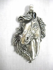 NEW HUGE MAJESTIC EQUESTRIAN HORSE HEAD FLOWING MANE USA PEWTER PENDANT NECKLACE