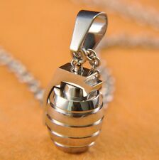 Necklace Chain Silver Black Blue Gold Men's Boys Grenade Stainless Steel Pendant