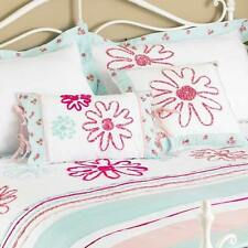 Riva Home Harriet Floral Embroidery Filled Cushion, Duck Egg Blue/Pink, 30x50Cm