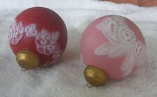 2 - Ceramic Ball Ornaments Red and White / Pink and White  - Nice