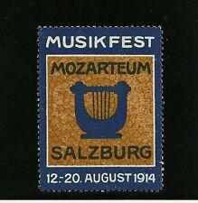 Autriche - Vignette Musikfest Mozarteum Salzbourg - Lyre - 12-20.08.1914 - TB