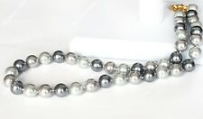 """Black Silver Gray 8mm South Sea Shell Pearl Round Beads Necklace 18"""""""