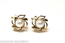 9ct Gold Freshwater Pearl studs earrings Gift Boxed Made in UK