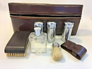 Vintage Men's Travel Grooming Kit In Leather Case