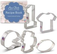 Ann Clark Cookie Cutters 5-Piece Football Cookie Cutter Set with Recipe Booklet