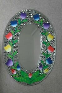 Superb Hand Crafted Mosaic Mirror With Color Tulips Design 70 x 50 Cm Wide