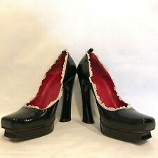 Cesare Paciotti Leather Pumps High Heels EU 39 US 9 Black Red Ruffle Detail