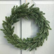 Simple Rustic Faux Fir Christmas Door Wreath, Artificial Green Spruce Pine Tree