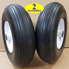 TWO 400-6 4.00-6 400x6 4.00x6 Ribbed FLAT FREE Tire Rim Wheel Assembly solid 5/8