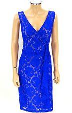 IVANKA TRUMP Lace Ruffles Dress SIZE 16 Royal Blue NWT NEW Sleeveless Sheath