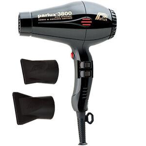 Parlux 3800 Ceramic Ionic Eco Friendly Hair Dryer Black W/ 2Pcs Nozzles AU Plug