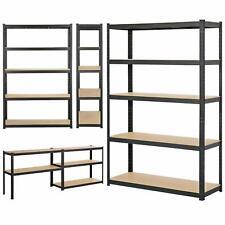 More details for black 5 tier heavy duty metal shelving boltless storage rack garage in 2 sizes
