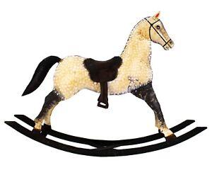Folk Art Large Decorative Painted Metal Rocking Horse Sculpture